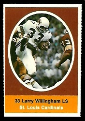 Larry Willingham 1972 Sunoco Stamps football card