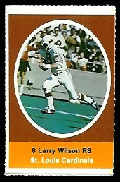 Larry Wilson 1972 Sunoco Stamps football card