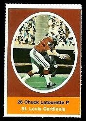 Chuck Latourette 1972 Sunoco Stamps football card