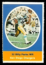 Billy Parks 1972 Sunoco Stamps football card