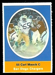 Carl Mauck 1972 Sunoco Stamps football card