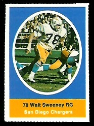 Walt Sweeney 1972 Sunoco Stamps football card