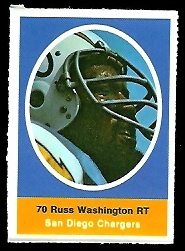 Russ Washington 1972 Sunoco Stamps football card