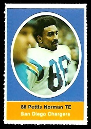 Pettis Norman 1972 Sunoco Stamps football card