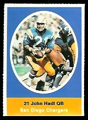 John Hadl 1972 Sunoco Stamps football card