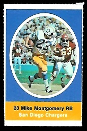 Mike Montgomery 1972 Sunoco Stamps football card