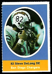Steve DeLong 1972 Sunoco Stamps football card