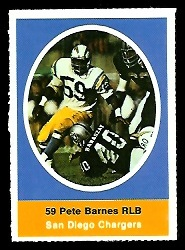 Pete Barnes 1972 Sunoco Stamps football card