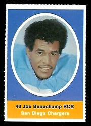 Joe Beauchamp 1972 Sunoco Stamps football card