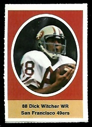 Dick Witcher 1972 Sunoco Stamps football card