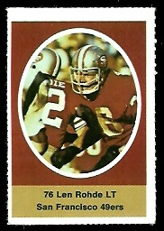 Len Rohde 1972 Sunoco Stamps football card