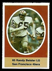 Randy Beisler 1972 Sunoco Stamps football card