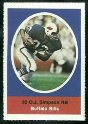 O.J. Simpson 1972 Sunoco Stamps football card