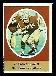 Forrest Blue 1972 Sunoco Stamps football card