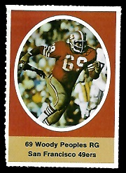 Woody Peoples 1972 Sunoco Stamps football card