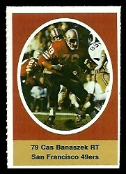 Cas Banaszek 1972 Sunoco Stamps football card