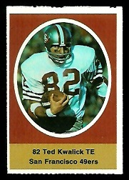Ted Kwalick 1972 Sunoco Stamps football card