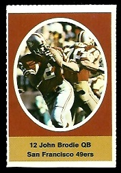 John Brodie 1972 Sunoco Stamps football card