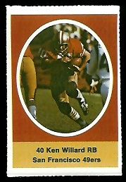 Ken Willard 1972 Sunoco Stamps football card