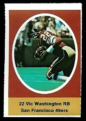 Vic Washington 1972 Sunoco Stamps football card