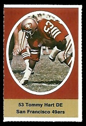 Tommy Hart 1972 Sunoco Stamps football card