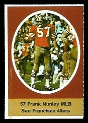 Frank Nunley 1972 Sunoco Stamps football card