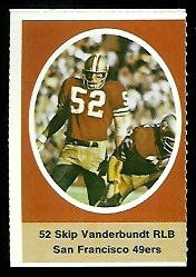 Skip Vanderbundt 1972 Sunoco Stamps football card