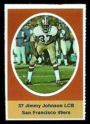 Jim Johnson 1972 Sunoco Stamps football card