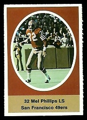 Mel Phillips 1972 Sunoco Stamps football card