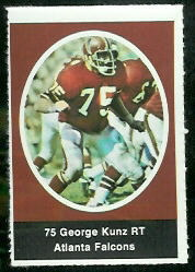 George Kunz 1972 Sunoco Stamps football card
