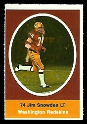 Jim Snowden 1972 Sunoco Stamps football card