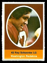 Ray Schoenke 1972 Sunoco Stamps football card