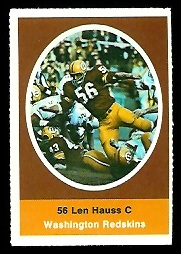Len Hauss 1972 Sunoco Stamps football card
