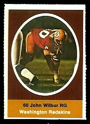 John Wilbur 1972 Sunoco Stamps football card