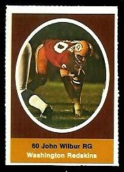John Wilbur 1972 Sunoco Stamps football card
