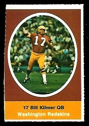 Bill Kilmer 1972 Sunoco Stamps football card