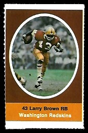 Larry Brown 1972 Sunoco Stamps football card