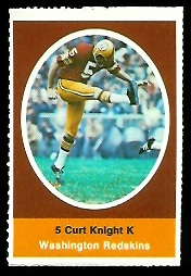 Curt Knight 1972 Sunoco Stamps football card