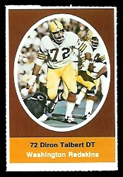 Diron Talbert 1972 Sunoco Stamps football card