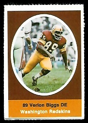 Verlon Biggs 1972 Sunoco Stamps football card