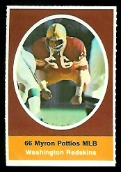 Myron Pottios 1972 Sunoco Stamps football card
