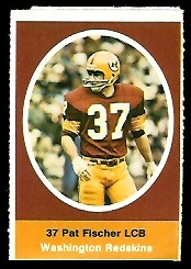 Pat Fischer 1972 Sunoco Stamps football card