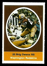 Brig Owens 1972 Sunoco Stamps football card