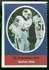 Al Andrews 1972 Sunoco Stamps football card