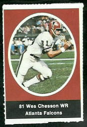 Wes Chesson 1972 Sunoco Stamps football card