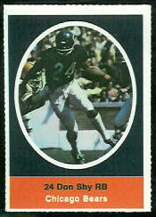 Don Shy 1972 Sunoco Stamps football card