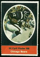 Cyril Pinder 1972 Sunoco Stamps football card