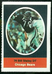 Bill Staley 1972 Sunoco Stamps football card