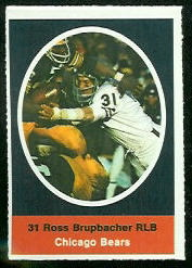 Ross Brupbacher 1972 Sunoco Stamps football card