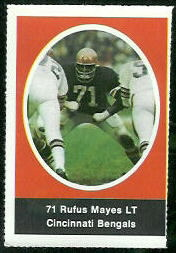 Rufus Mayes 1972 Sunoco Stamps football card